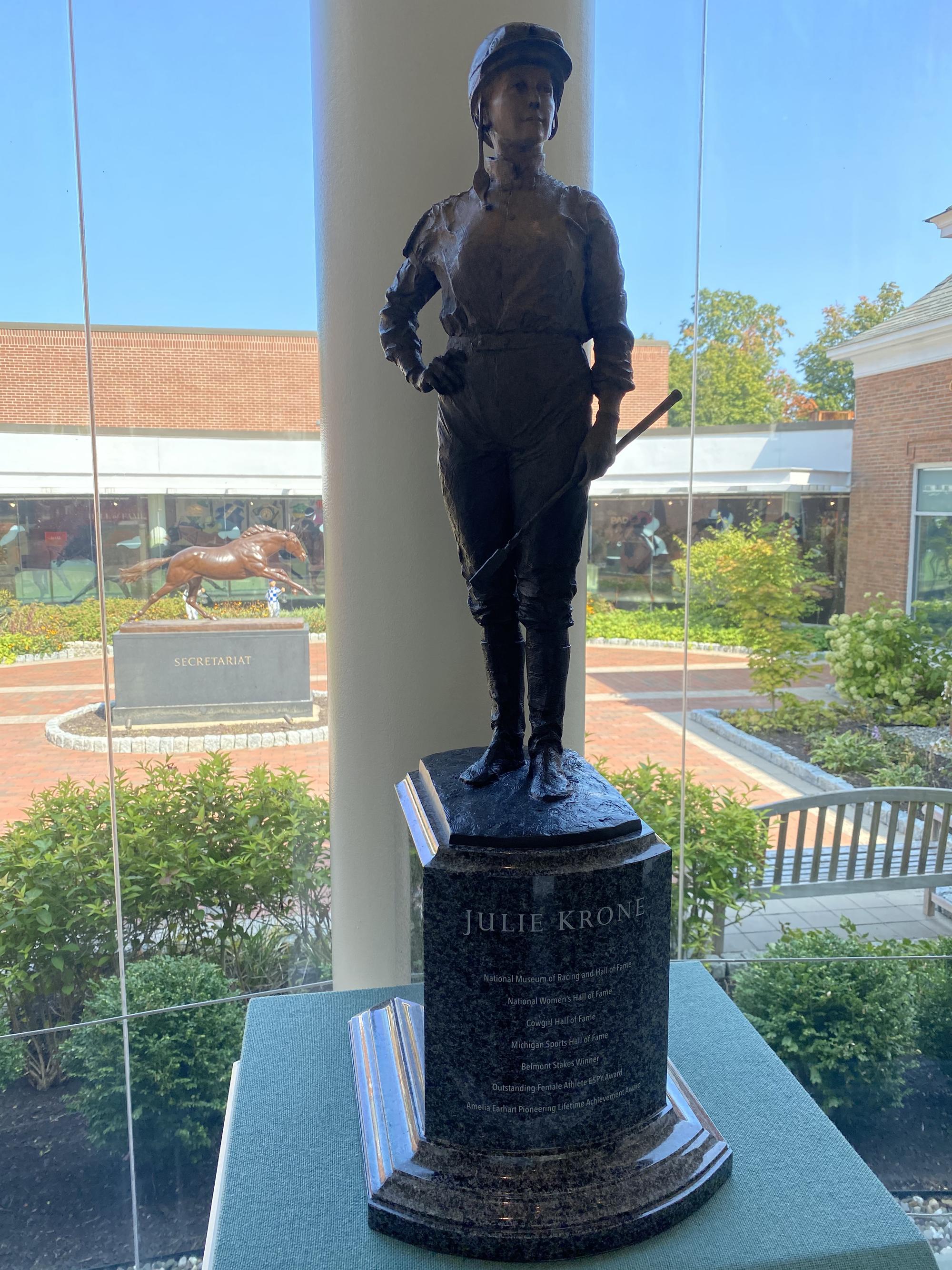 2018.20: Julie Krone by Linda Stinson, Bronze on granite base, Gift: Julie Krone, Michael and Linda Stinson