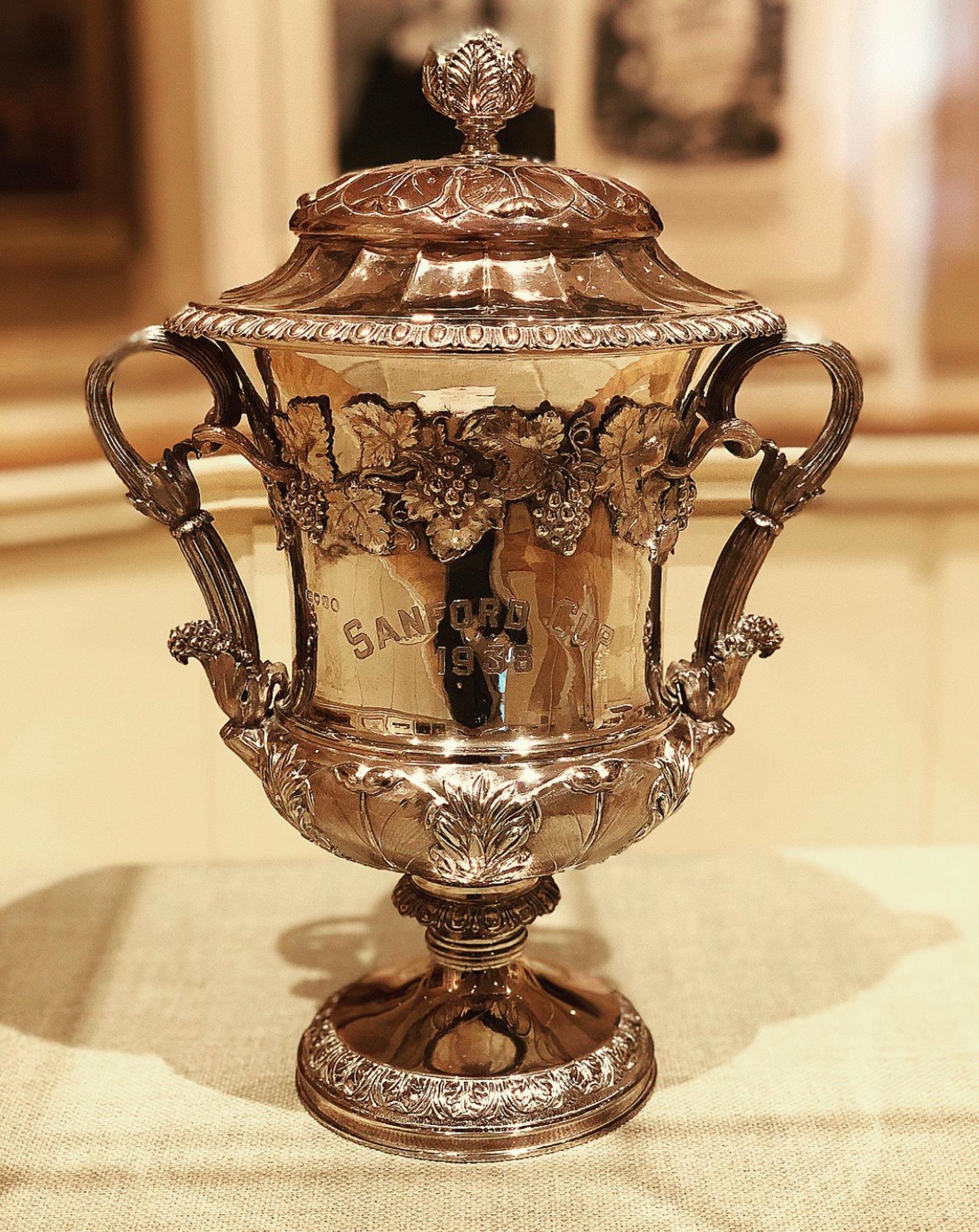 1972.2.11: Sanford Cup, 1938, won by Birch Rod, Gift: F. Eugene Dixon, Jr., Mrs. Paul Carpenter Dewey, Mrs. W. Dyer Jones, Mrs. Messmore Kendall, Mrs. Warwick Fay Neville