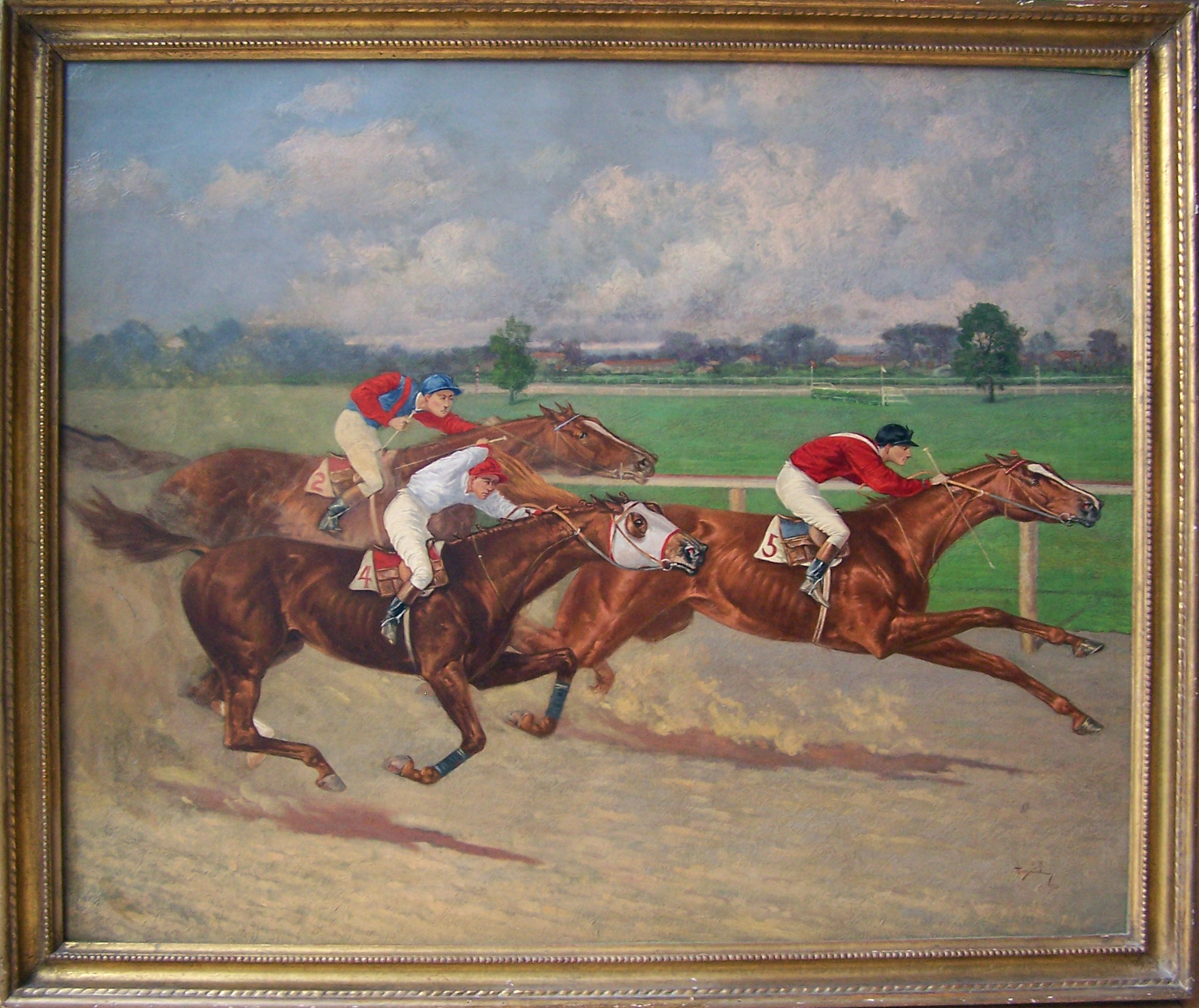 1996.2.1: Finish of the White Plains Handicap, Henry Stull (1851-1913), Oil on canvas, 1903, Museum Purchase