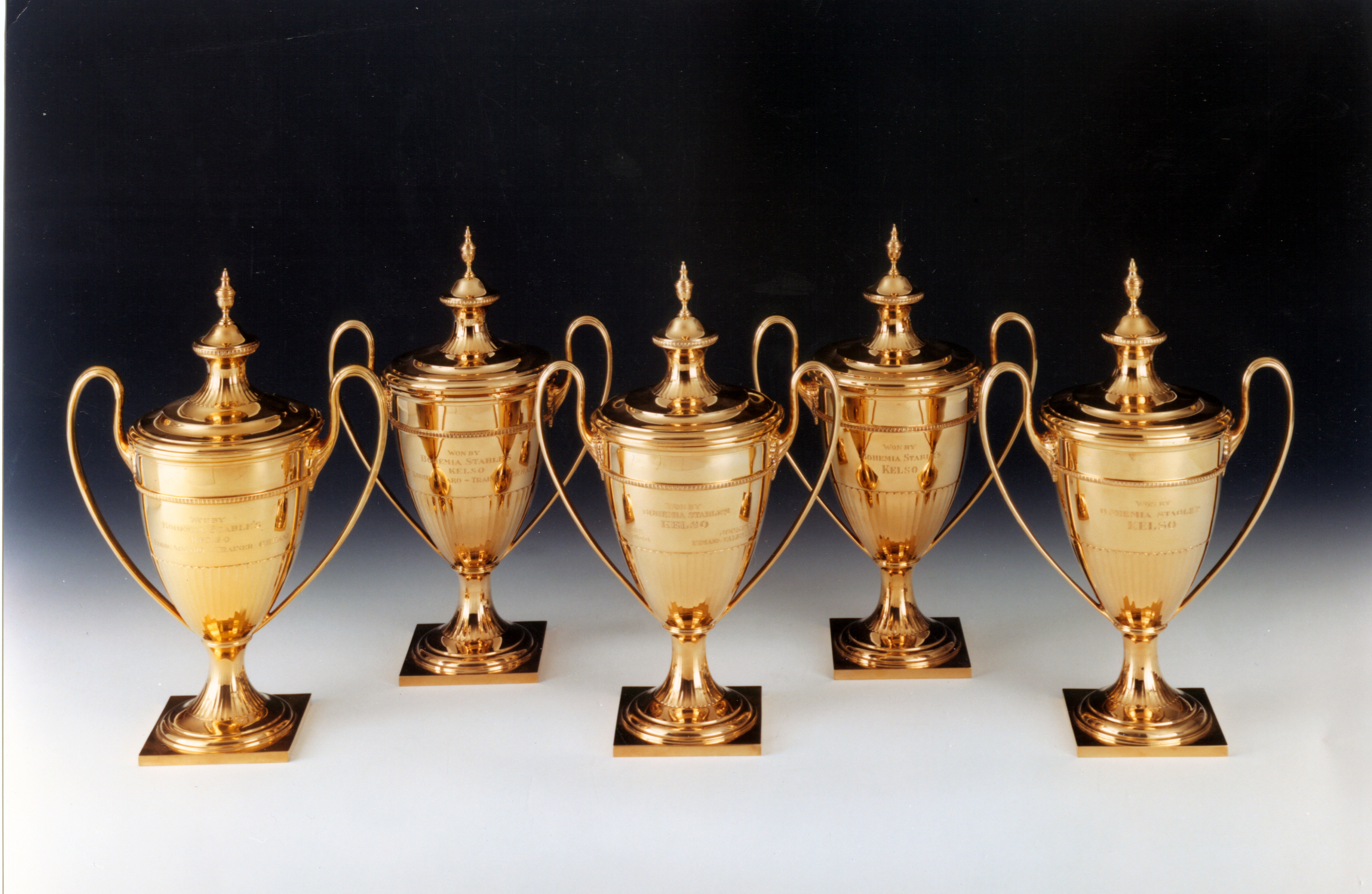 1979.3.1-.5: Jockey Club Gold Cup trophies (1960-1964), won by Kelso, Gift: Mrs. Richard C. duPont