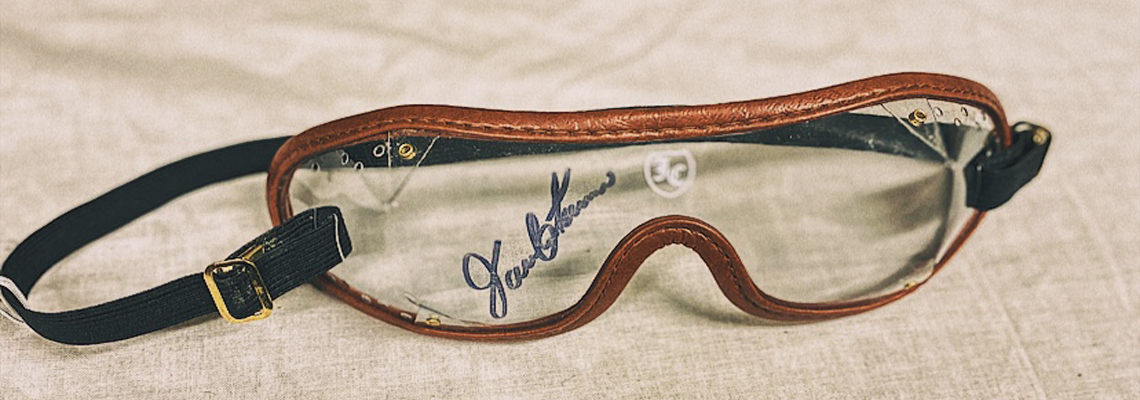 2019.26.1: Signed pair of Javier Castellano goggles, Gift: Javier and Abby Castellano