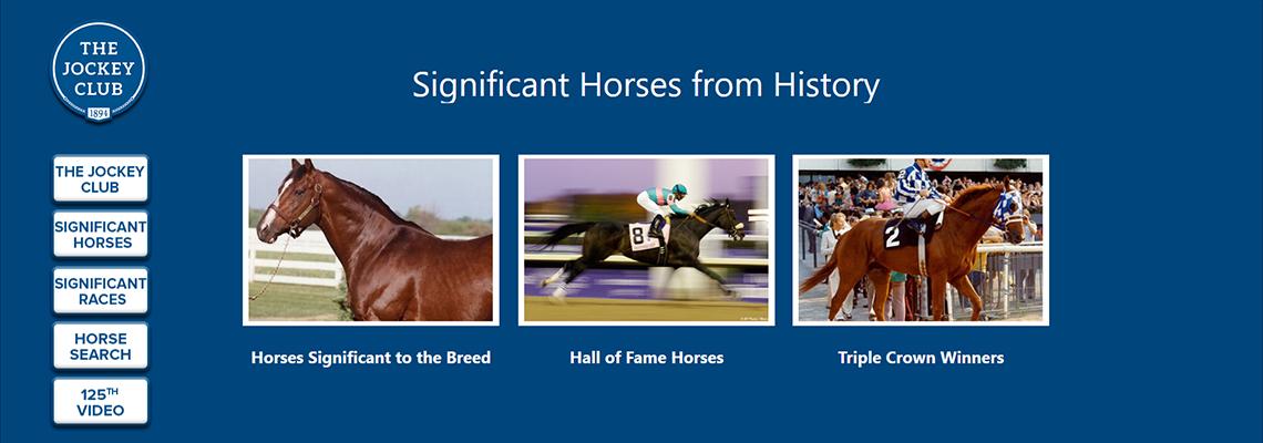 The Jockey Club Gallery, screenshot of interactive kiosk, National Museum of Racing