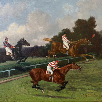 Henry Stull, Flying the Liverpool, 1904, oil on canvas, Gift of F. Skiddy von Stade to the National Museum of Racing Collection, 1956.7.1 (detail)