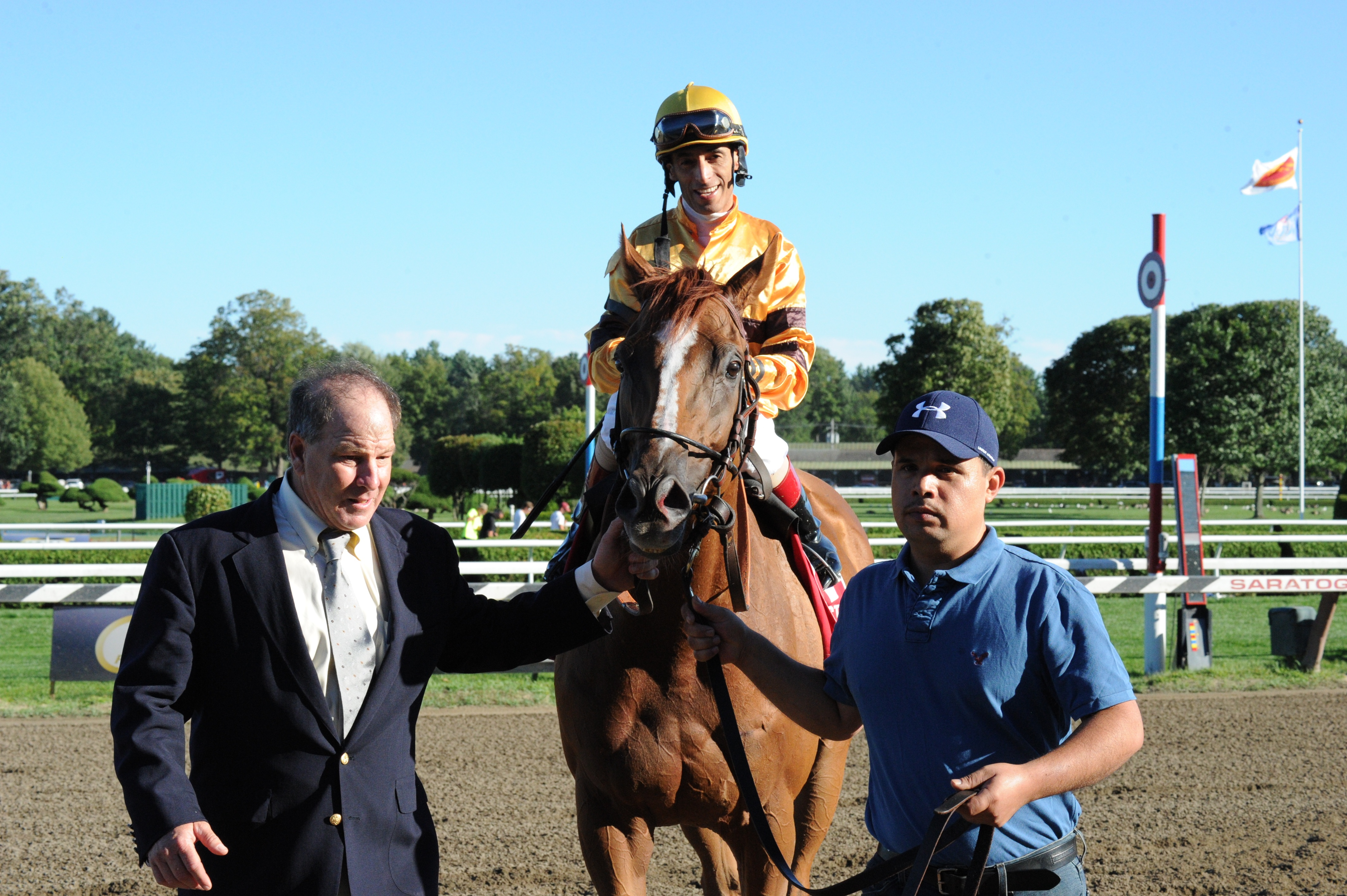 Wise Dan, 2013 Fourstardave Handicap, with trainer Charles LoPresti, John Velazquez up (Bob Mayberger)