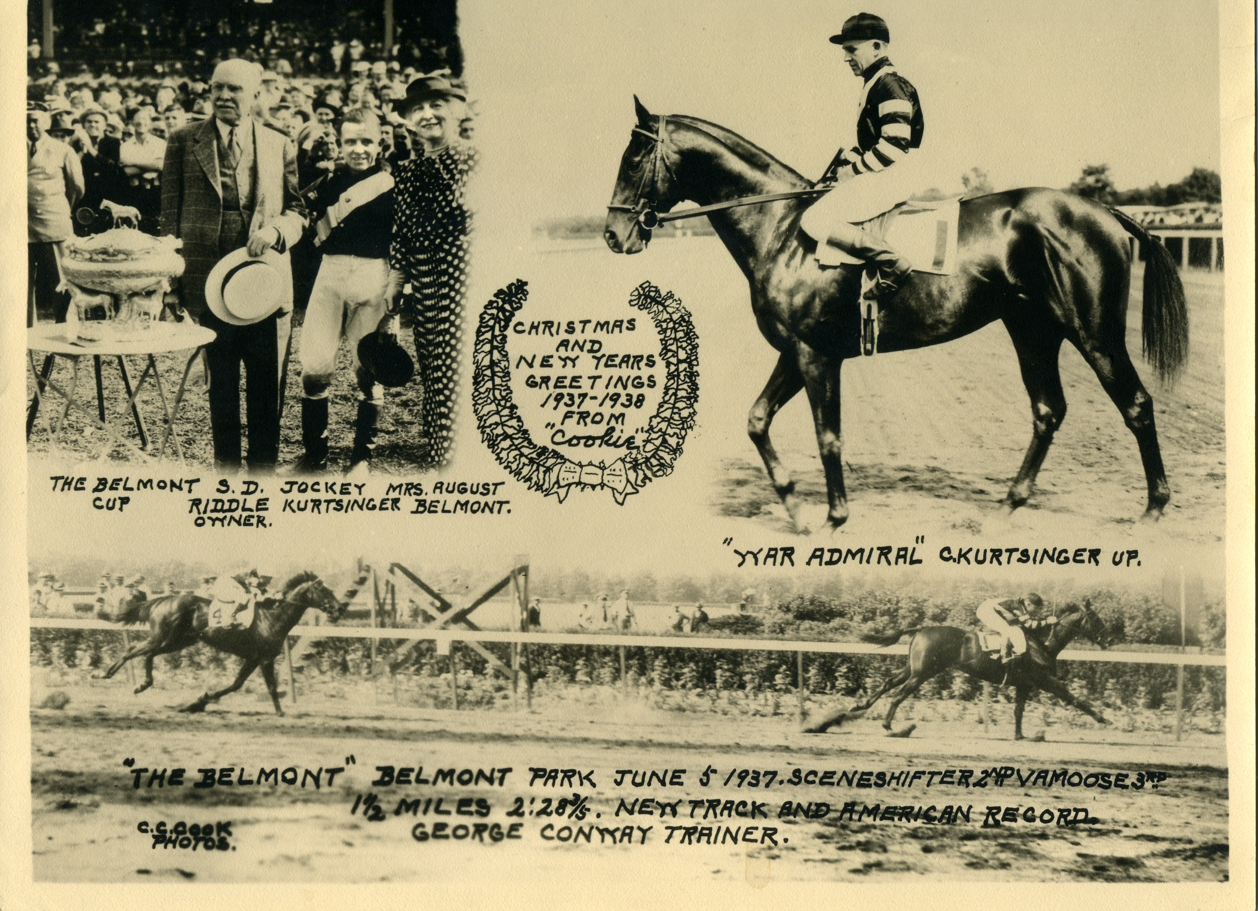 "The 1937 Belmont Stakes, won by War Admiral (Charles Kurtsinger up) featured in the annual ""Christmas Cookie"" greeting card produced by photographer C. C. Cook (C. C. Cook/Museum Collection)"