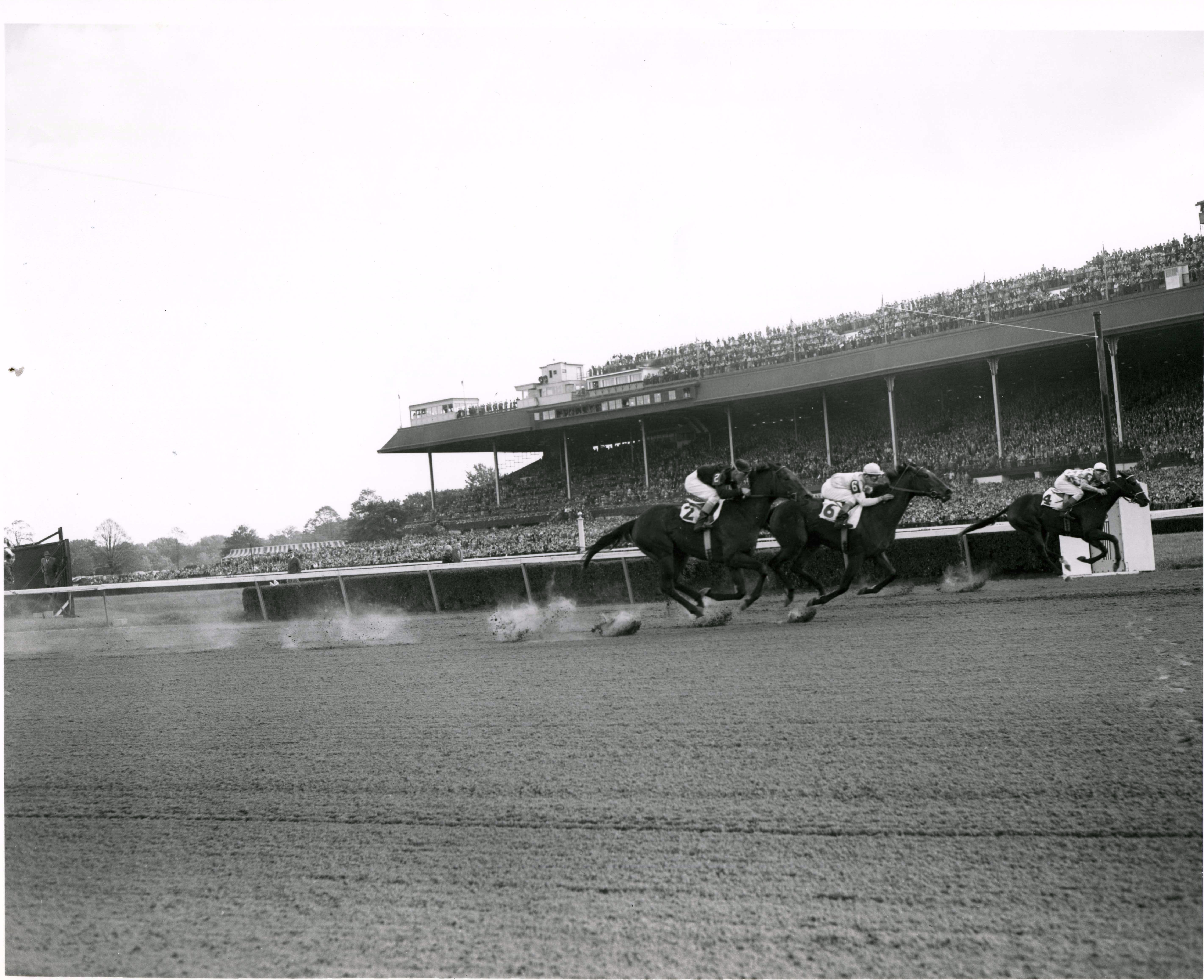 Bed o' Roses (Eric Guerin up) winning the 1949 Matron at Belmont Park (Keeneland Library Morgan Collection/Museum Collection)