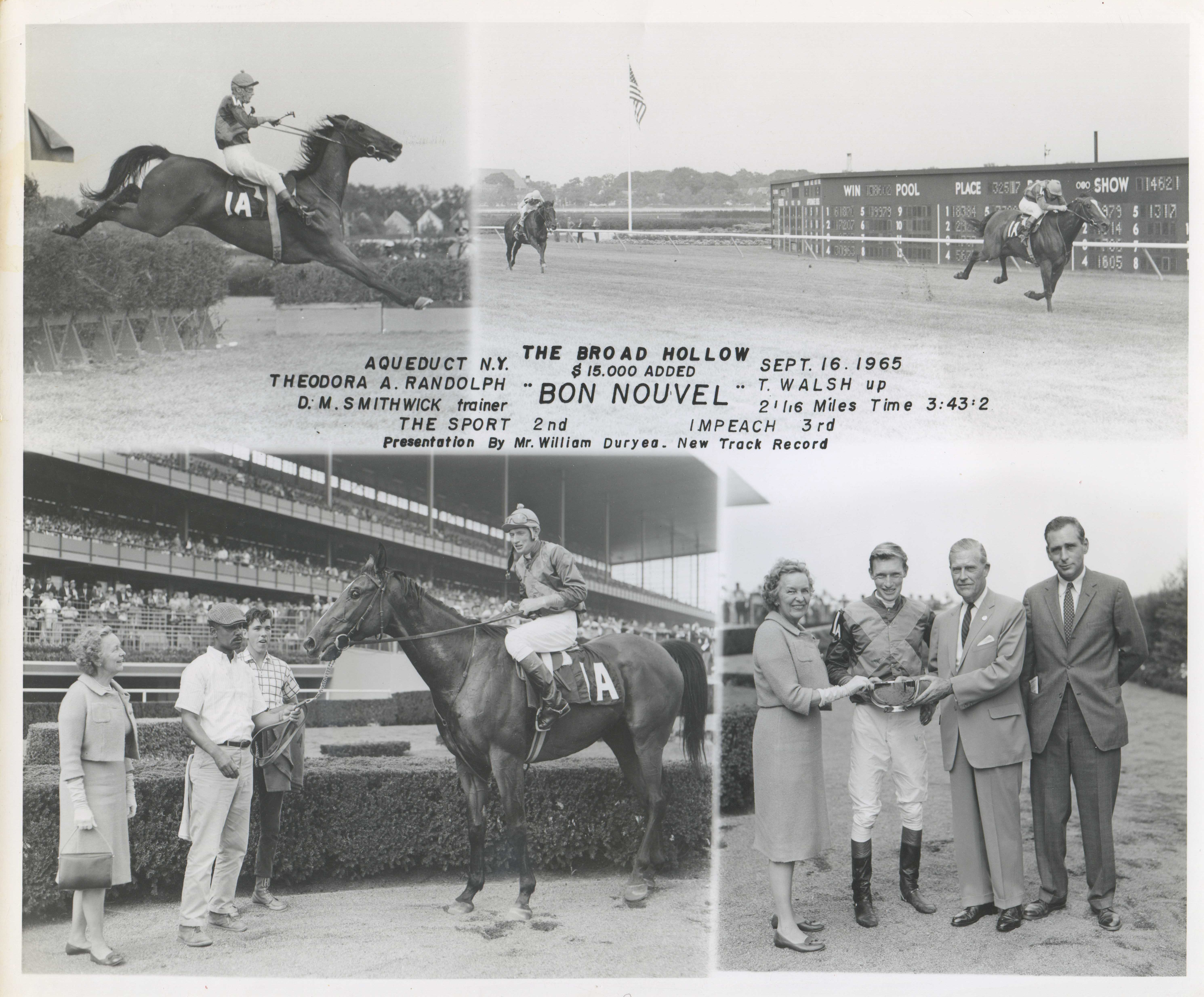 Win composite photograph for the 1965 Broad Hollow Steeplechase (NYRA/Museum Collection)