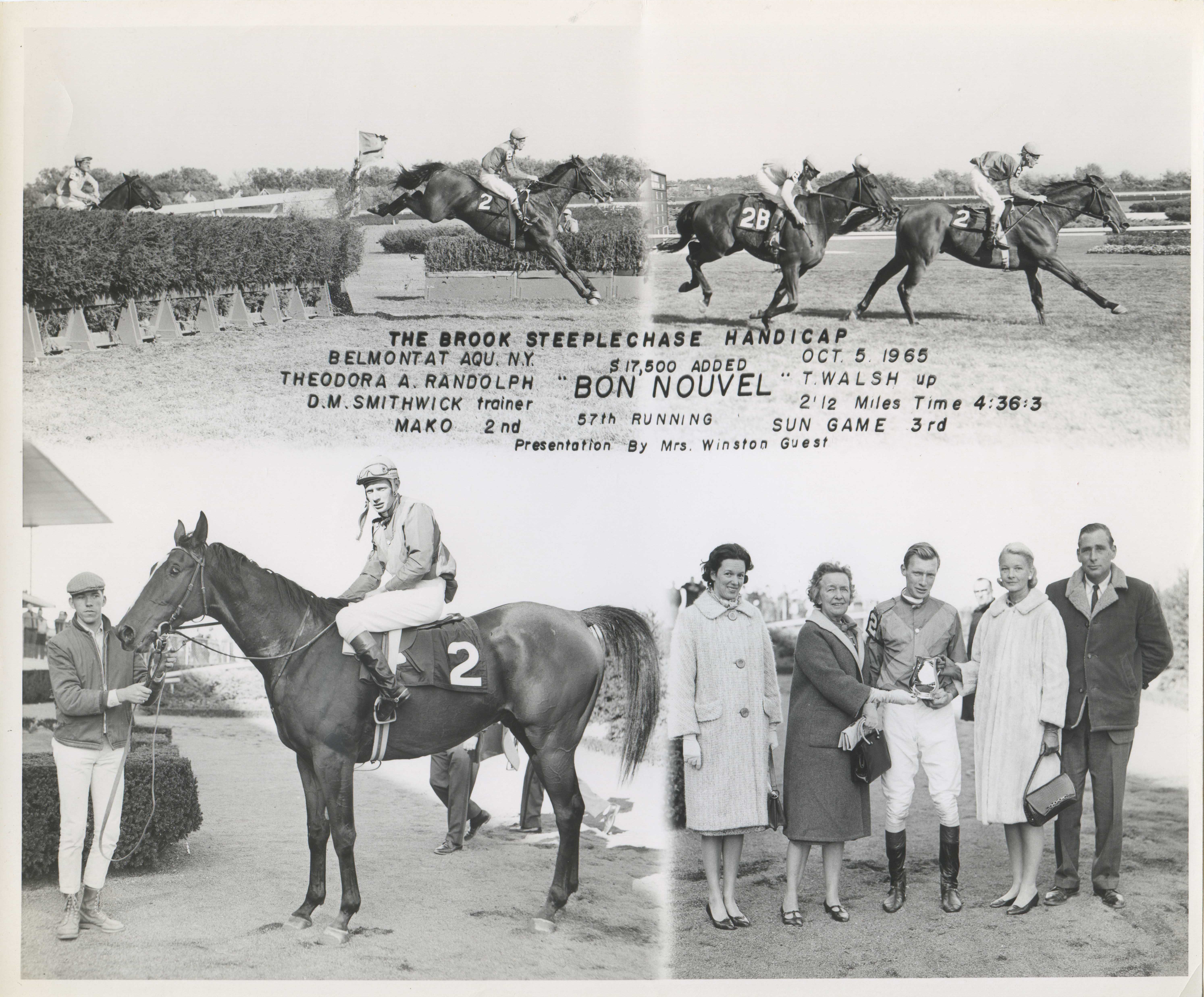 Win composite photograph for the 1965 Brook Steeplechase Handicap at the Belmont at Aqueduct meet (NYRA/Museum Collection)