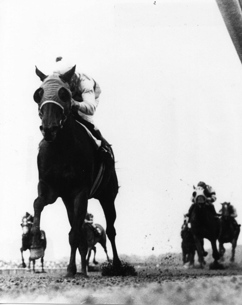 Affectionately (Walter Blum up) winning the 1965 Liberty Belle Handicap at Aqueduct (The BloodHorse/Museum Collection)