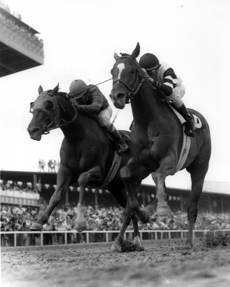 Affirmed (Steve Cauthen up) dueling Alydar (Jorge Velasquez up) for the win in the 1977 Laurel Futurity (Jerry Frutkoff/Museum Collection)