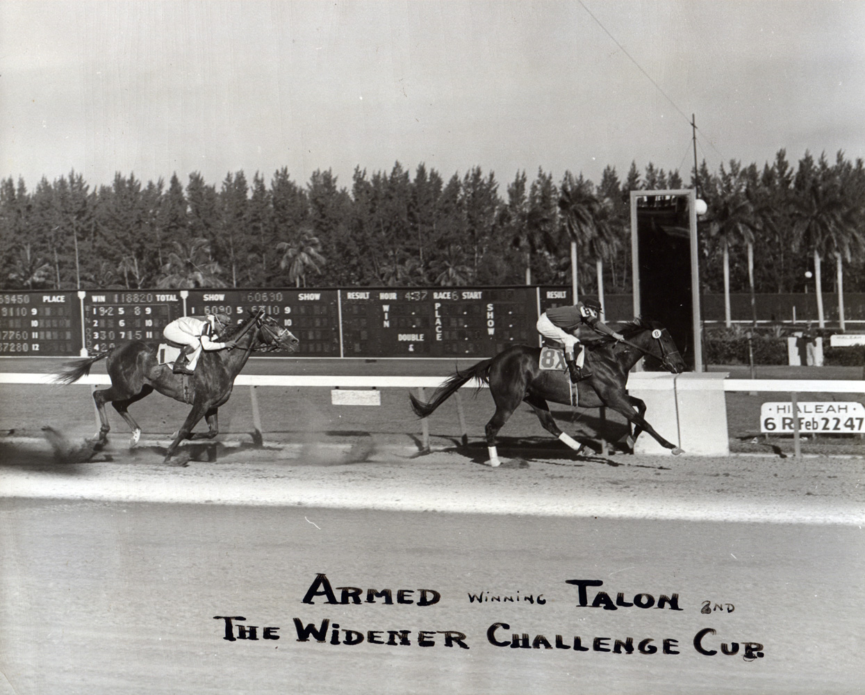 Armed (Doug Dodson up) defeating Talon in the 1947 Widener Handicap at Hialeah Park (Museum Collection)