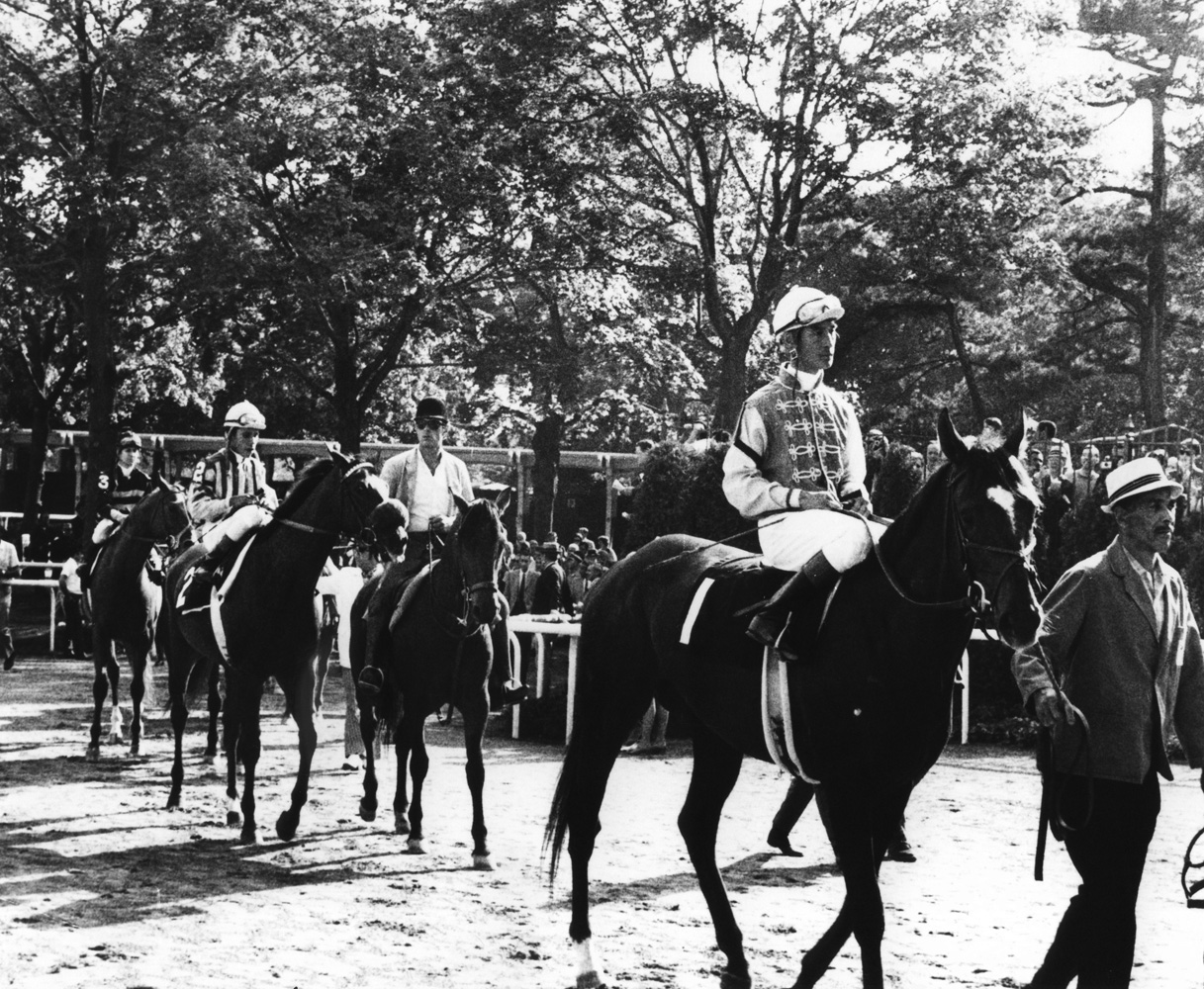 Arts and Letters (Braulio Baeza up) leaving the paddock for the 1969 Belmont Stakes (NYRA/Museum Collection)
