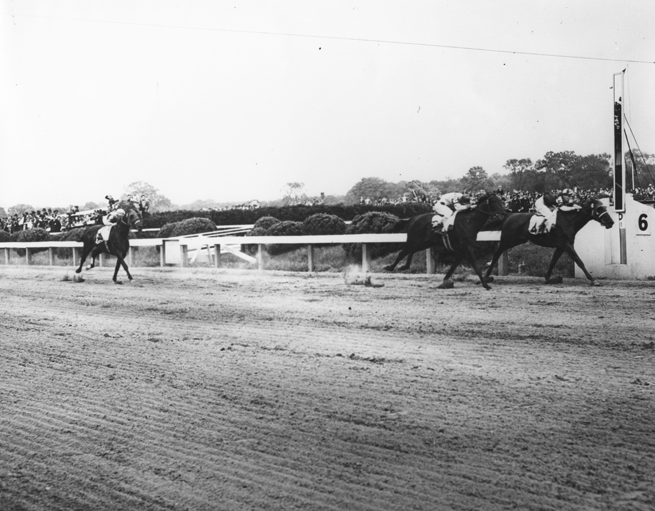 Assault (Warren Mehrtens up) winning the 1946 Preakness Stakes at Pimlico (Keeneland Library Morgan Collection/Museum Collection)