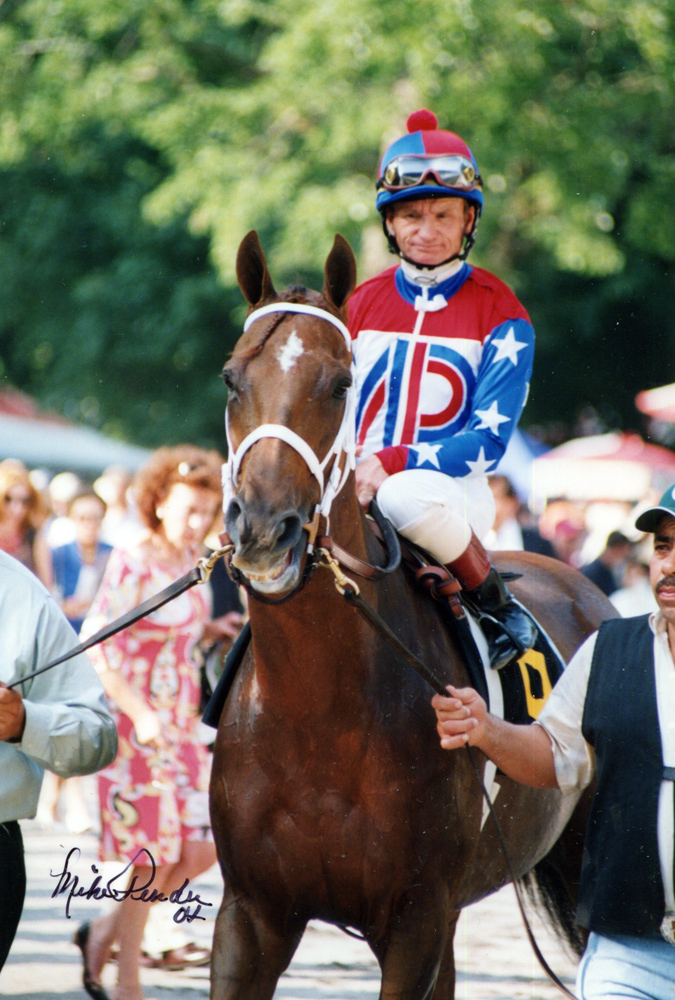 Azeri (Pat Day up) leaving the paddock for the 2004 Go for Wand Handicap at Saratoga (Mike Pender/Museum Collection)