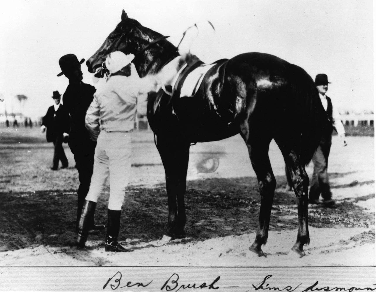 Ben Brush with Willie Simms after winning the 1896 Kentucky Derby (Churchill Downs Inc./Kinetic Corp. /Museum Collection)