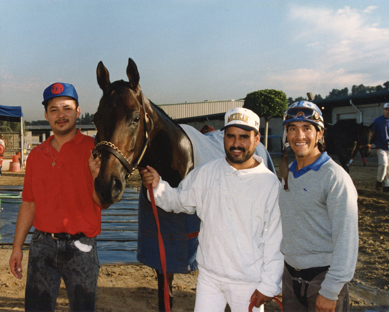 Best Pal with groom Martel Casteneda, hot-walker Victor Rojo, and exercise rider Ruben Hernandez at Hollywood Park (Benoit Photo)
