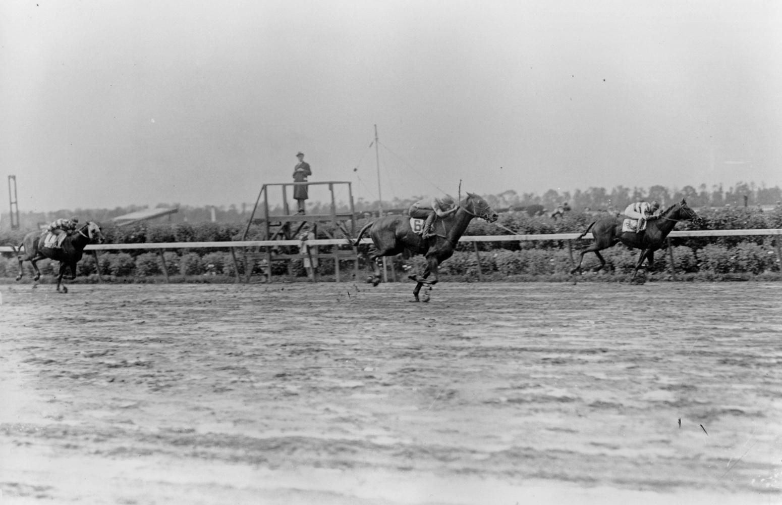 Blue Larkspur (Mack Garner up) winning the 1929 Belmont Stakes (Keeneland Library Cook Collection/Museum Collection)
