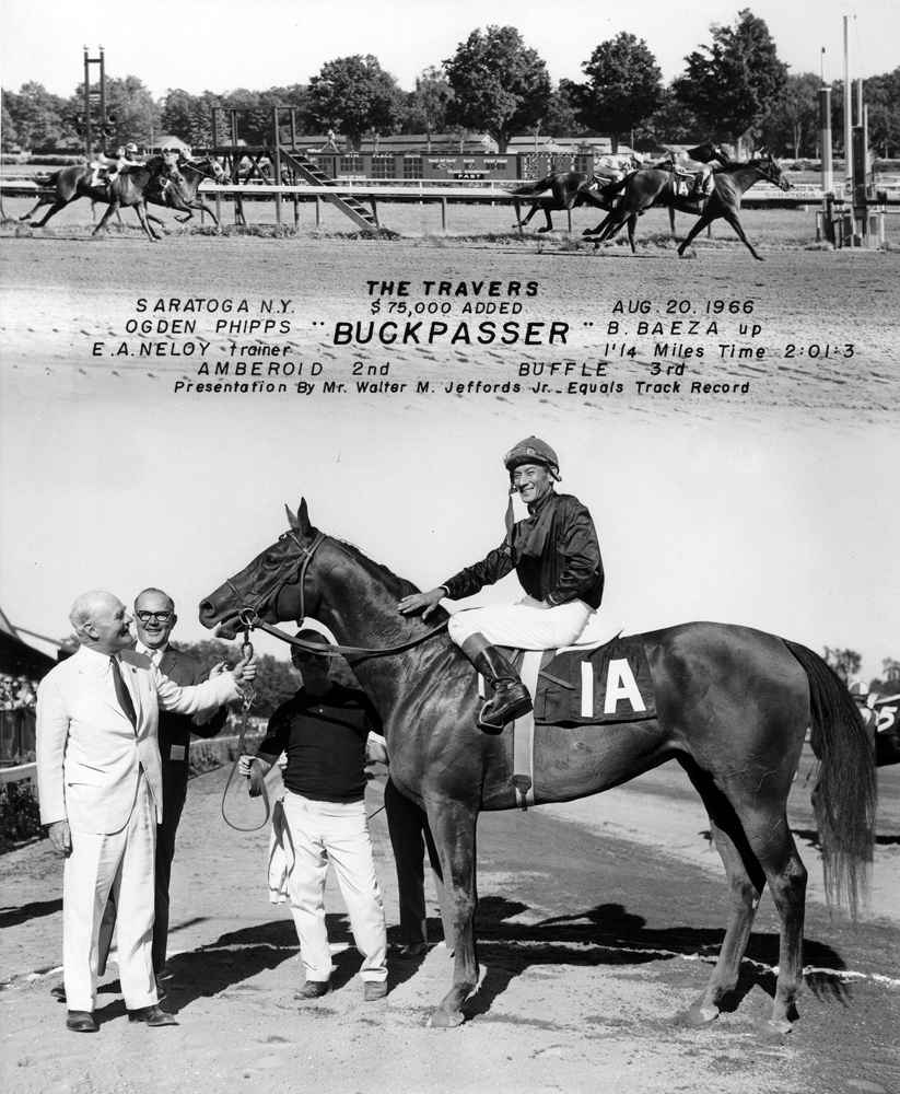 Win composite photograph for the 1966 Travers Stakes, won by Buckpasser (Braulio Baeza up) (NYRA/Museum Collection)