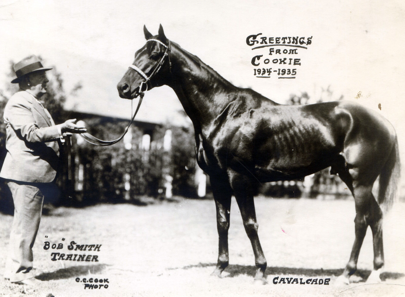 "Cavalcade and trainer Robert Smith featured in the 1934 ""Christmas Cookie"" greeting card produced by photographer C. C. Cook (C. C. Cook/Museum Collection)"