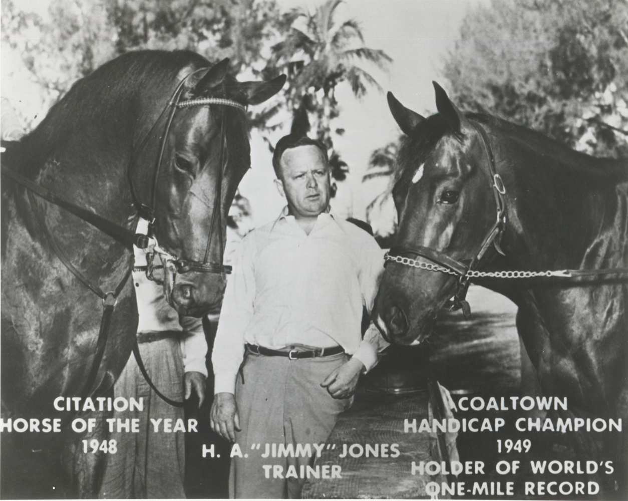Coaltown (right) with Calumet Farm stablemate Citation and trainer Jimmy Jones (Museum Collection)
