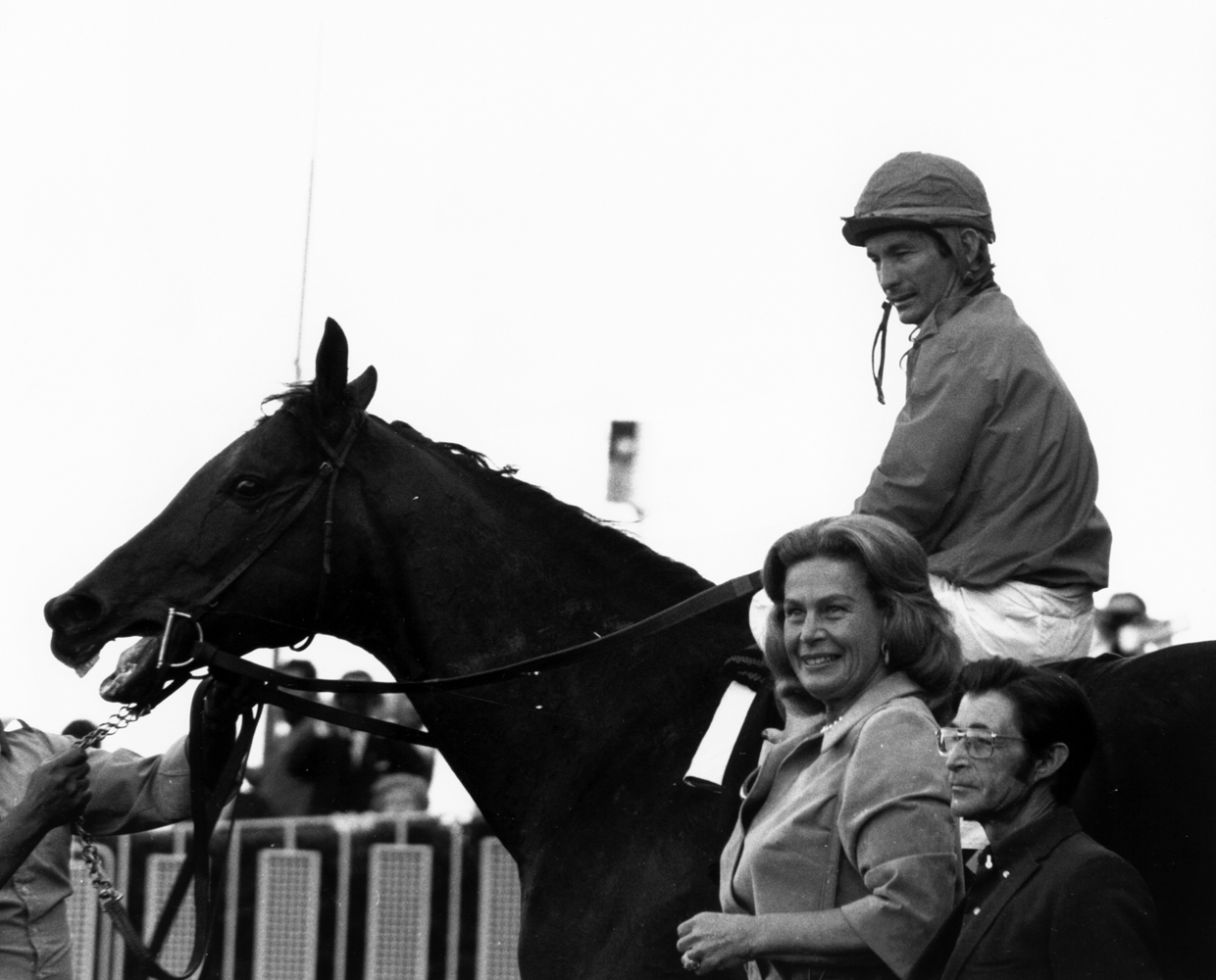 Cougar II (Bill Shoemaker up) in the winner's circle for the 1973 Century Handicap (Bill Mochon/Museum Collection)