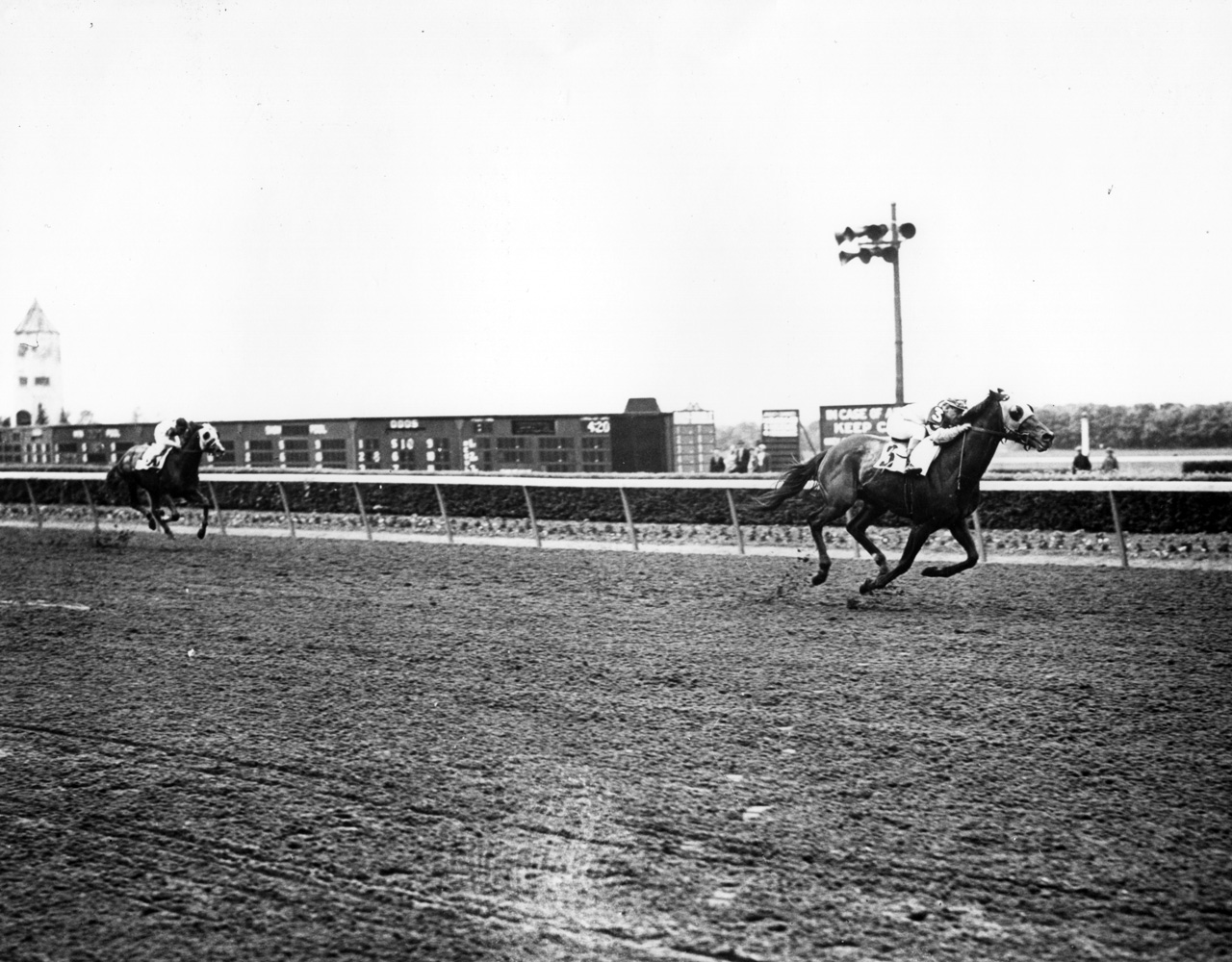 Count Fleet (Johnny Longden up) winning the 1943 Withers at Belmont Park (Keeneland Library Morgan Collection/Museum Collection)