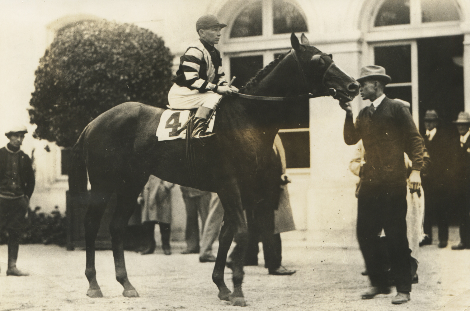 Crusader (Clarence Kummer up) at Belmont Park before the 1927 Suburban Handicap (Museum Collection)