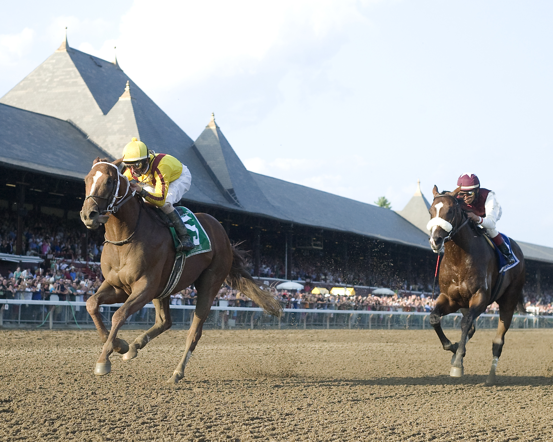 Curlin, Robby Albarado up, winning the 2008 Woodward at Saratoga (NYRA)