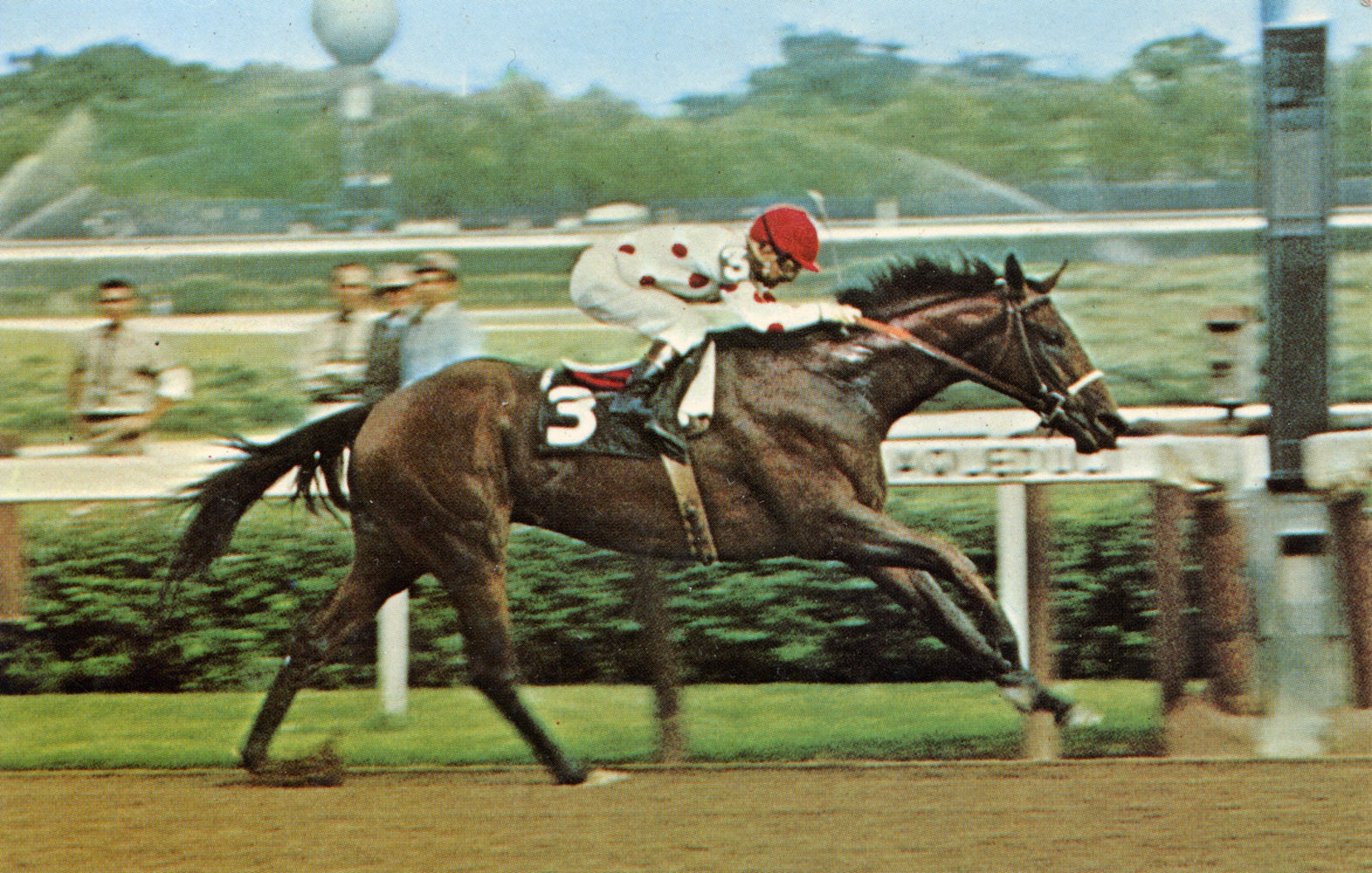 Postcard depicting Damascus winning the 1967 Aqueduct Stakes (Paul-Art Press, Inc./Museum Collection)