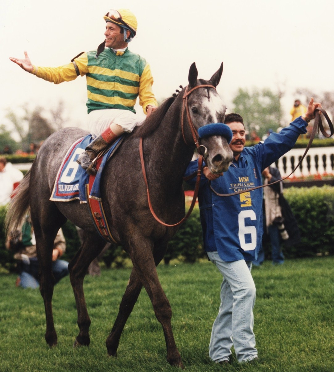 Silver Charm (Gary Stevens up) after winning the 1997 Kentucky Derby (Barbara D. Livingston)