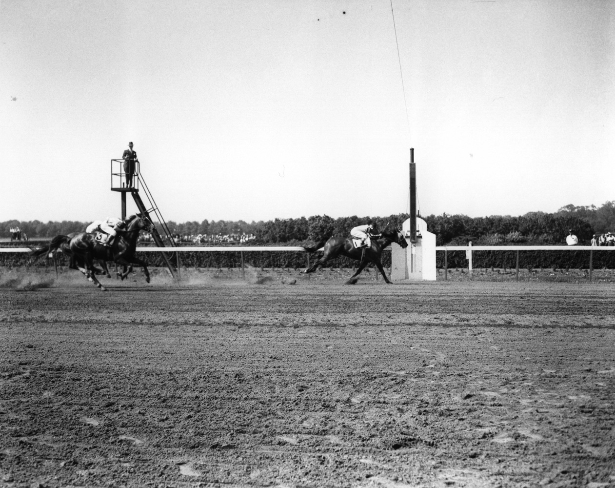 Devil Diver (Eddie Arcaro up) winning the 1945 Suburban Handicap at Belmont Park (Keeneland Library Morgan Collection/Museum Collection)