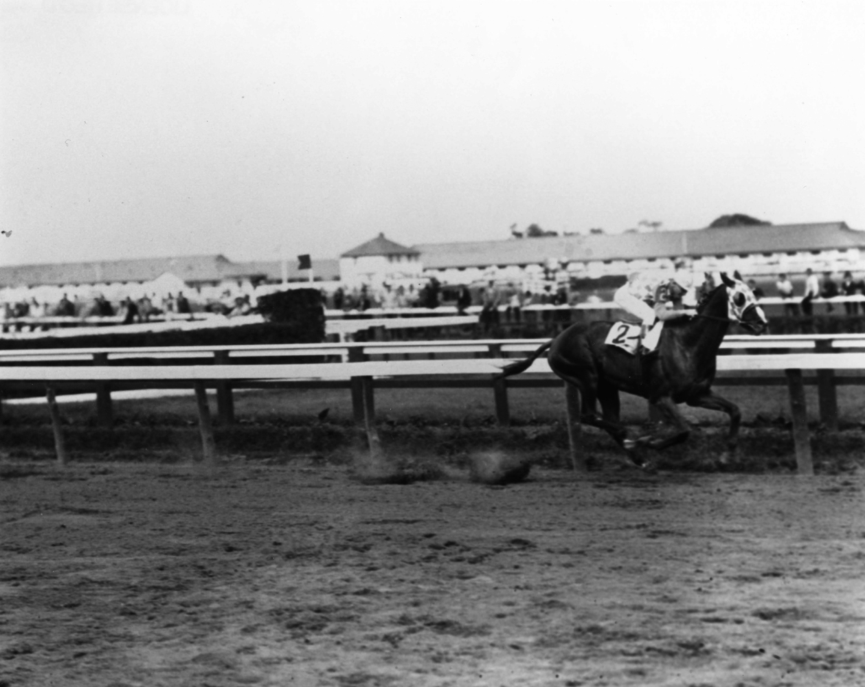 Discovery (John Bejshak up) winning the 1935 Brooklyn Handicap at Aqueduct (Keeneland Library Cook Collection/Museum Collection)