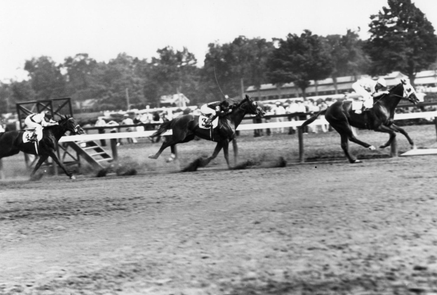 Discovery (John Bejshak up) winning the 1935 Merchants and Citizens Handicap at Saratoga (Keeneland Library Cook Collection/Museum Collection)