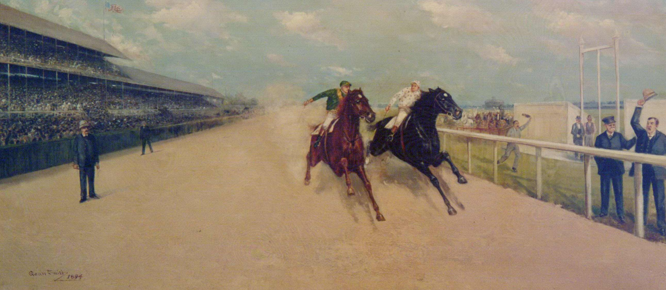 Famous Match Race and Dead Heat, by Gean Smith, 1984: Henry of Navarre, left, and Domino, right (Museum Collection)