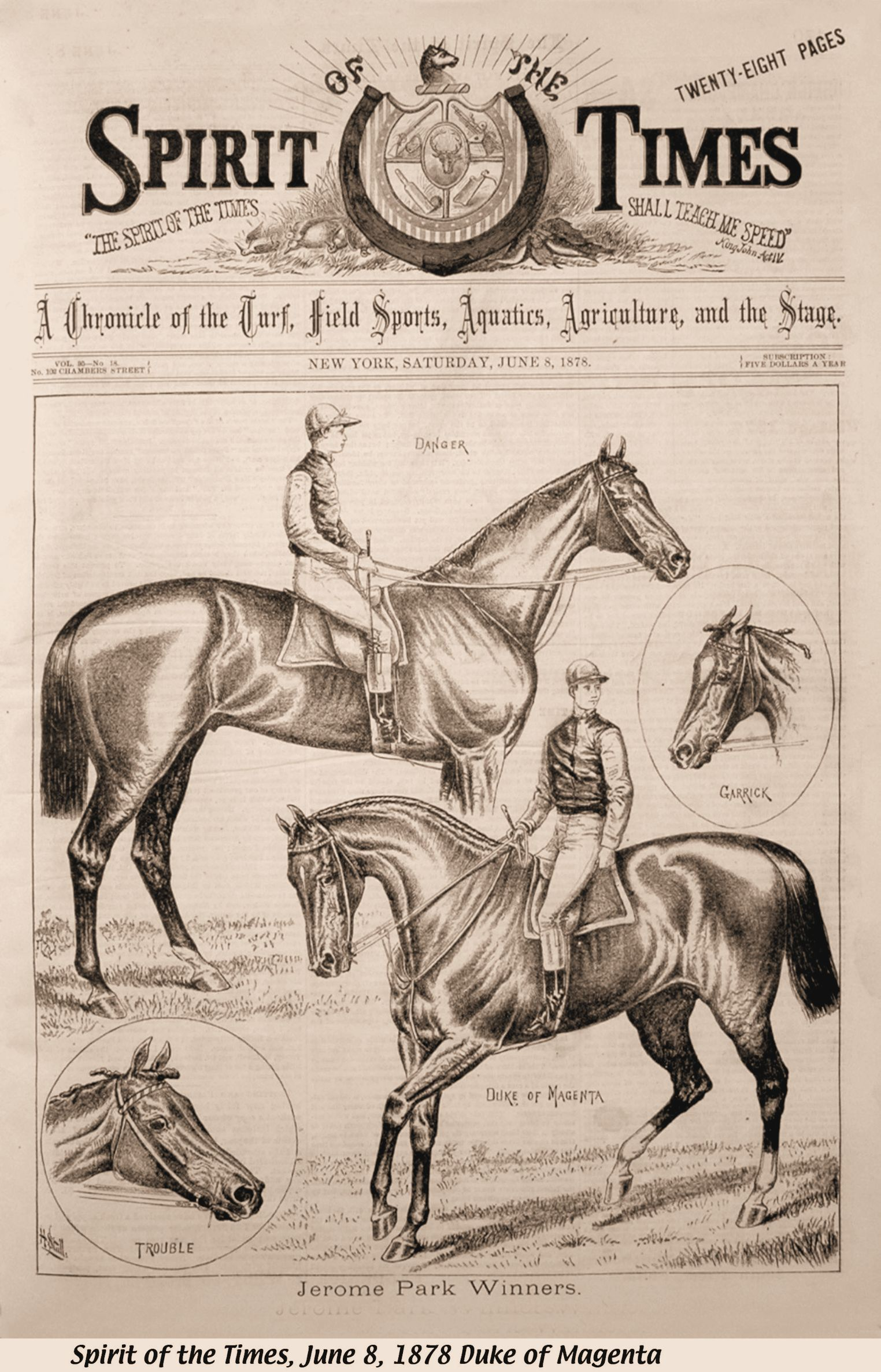 "Illustration of Duke of Magenta (on right) from the June 8, 1878 issue of ""The Spirit of the Times"" (Keeneland Library Collection)"