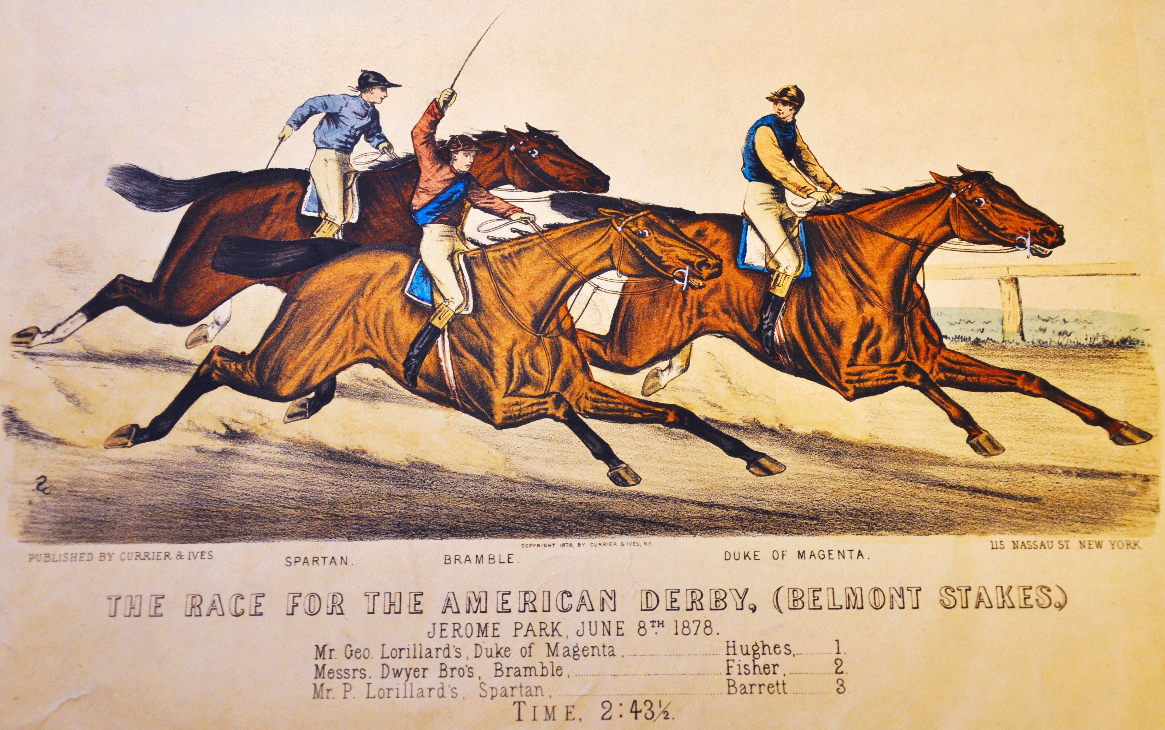 Currier & Ives print depicting the 1878 Belmont Stakes at Jerome Park, won by Duke of Magenta (Museum Collection)