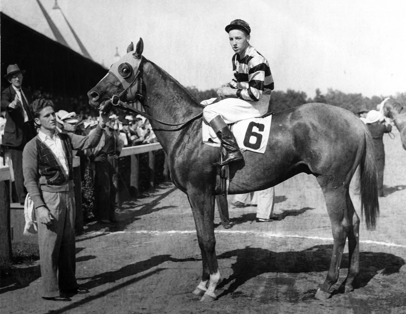 Eight Thirty (Wayne Wright up) in the winner's circle for the 1938 Flash Stakes at Saratoga (TurfPix/Museum Collection)