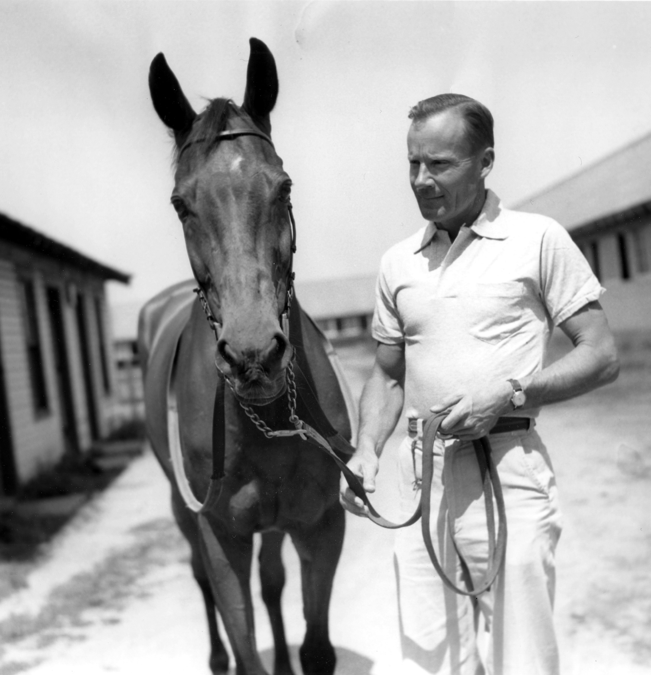 Elkridge with Kent Miller at Belmont Park on June 23, 1955 (Keeneland Library Morgan Collection/Museum Collection)