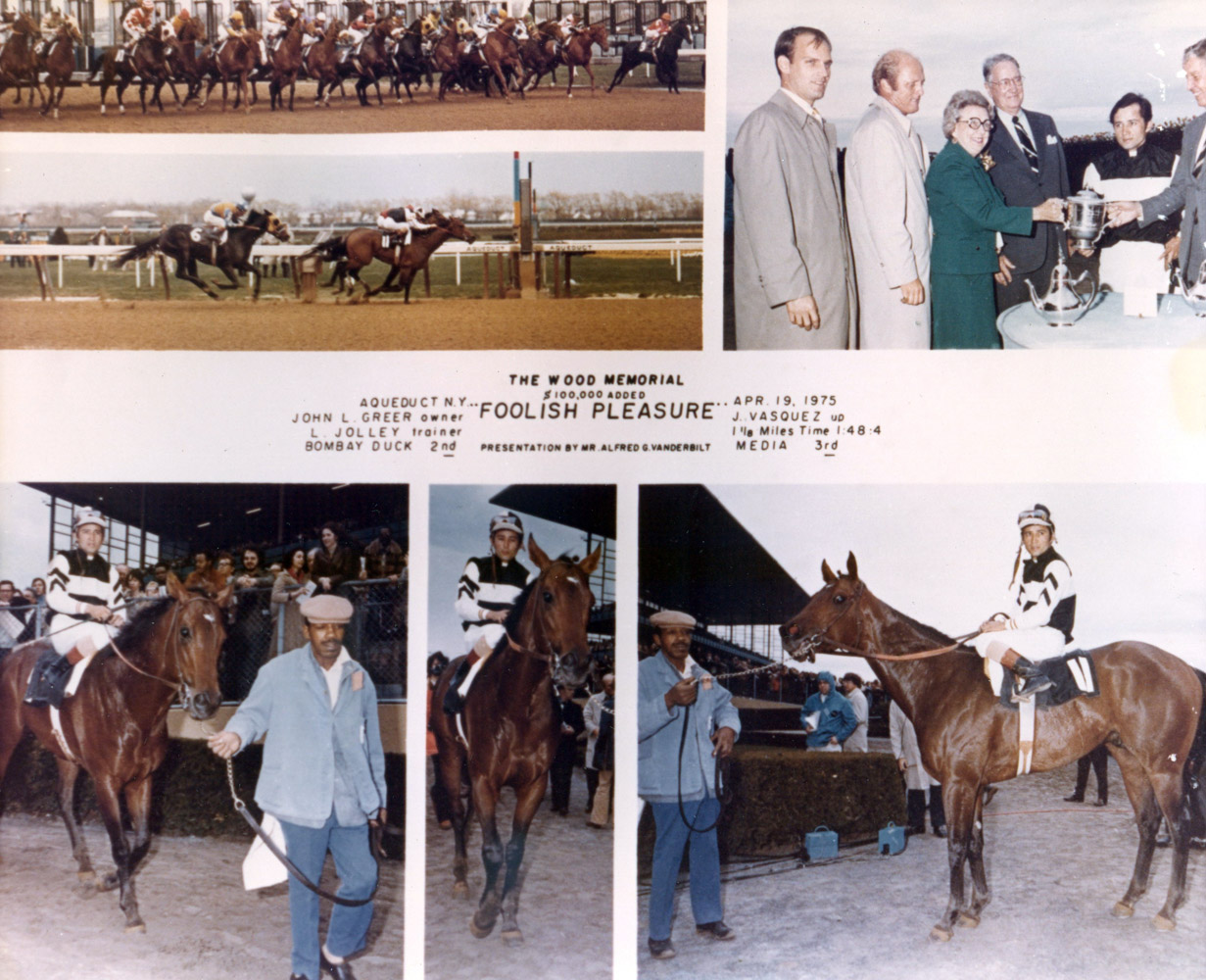 Win composite photograph of the 1975 Wood Memorial, won by Foolish Pleasure (Jacinto Vasquez up) (NYRA/Museum Collection)