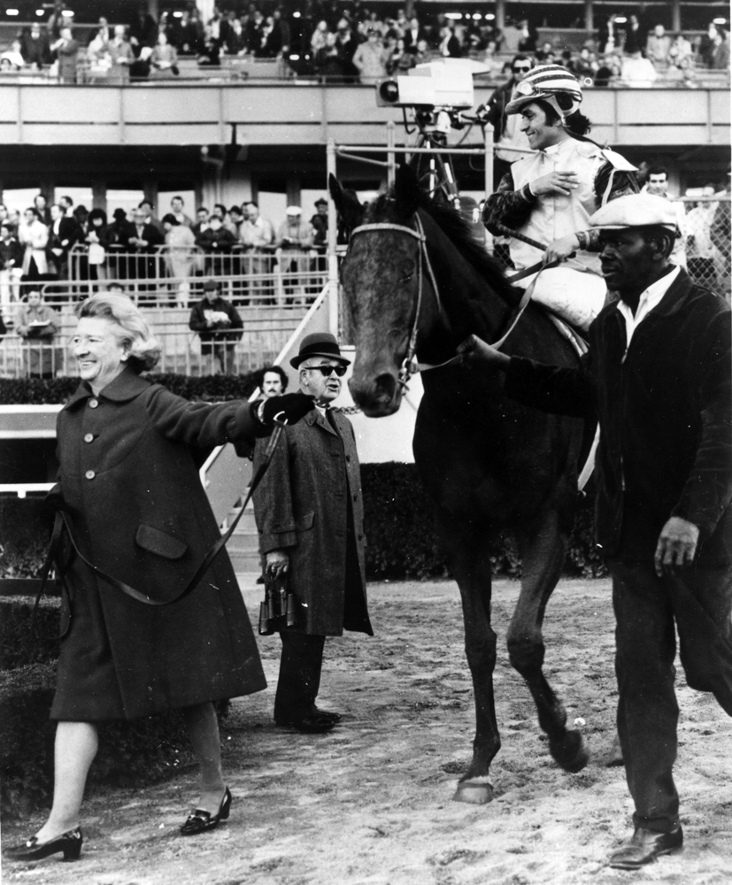 Martha Gerry leading Forego (H. Gustines up) into the winner's circle (Museum Collection)