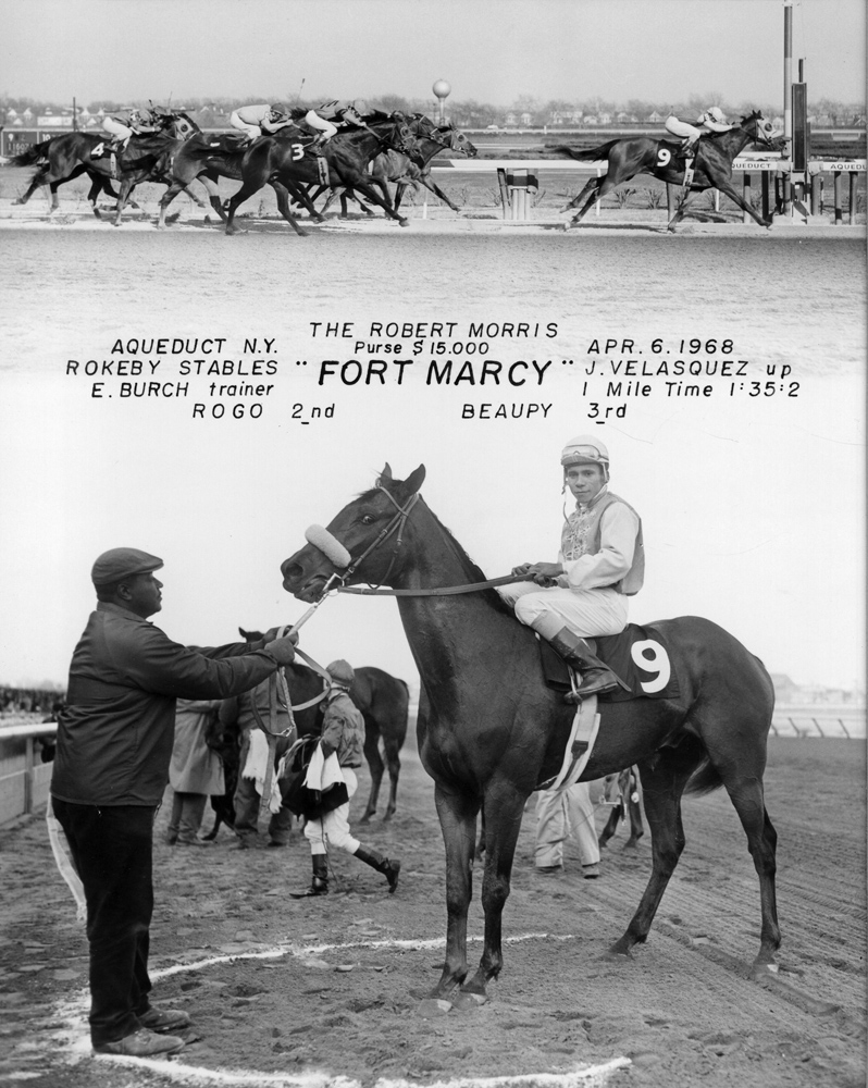 Win composite photograph for the 1968 Robert Morris at Aqueduct, won by Fort Marcy (Jorge Velasquez up) (NYRA/Museum Collection)