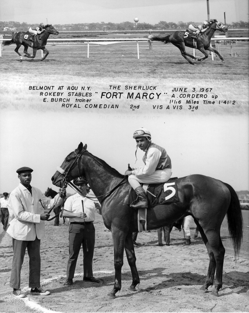 Win composite photograph for the 1967 Sherluck during the Belmont at Aqueduct meet, won by Fort Marcy (Angel Cordero up) (NYRA/Museum Collection)