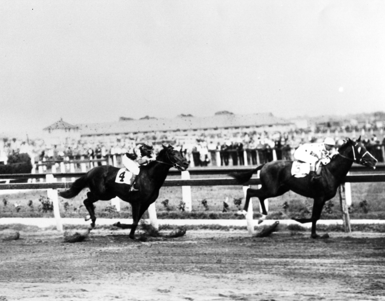 Gallant Fox (Earl Sande up) winning the 1930 Dwyer Stakes at Aqueduct, his first race after becoming a Triple Crown winner (Keeneland Library Cook Collection/Museum Collection)