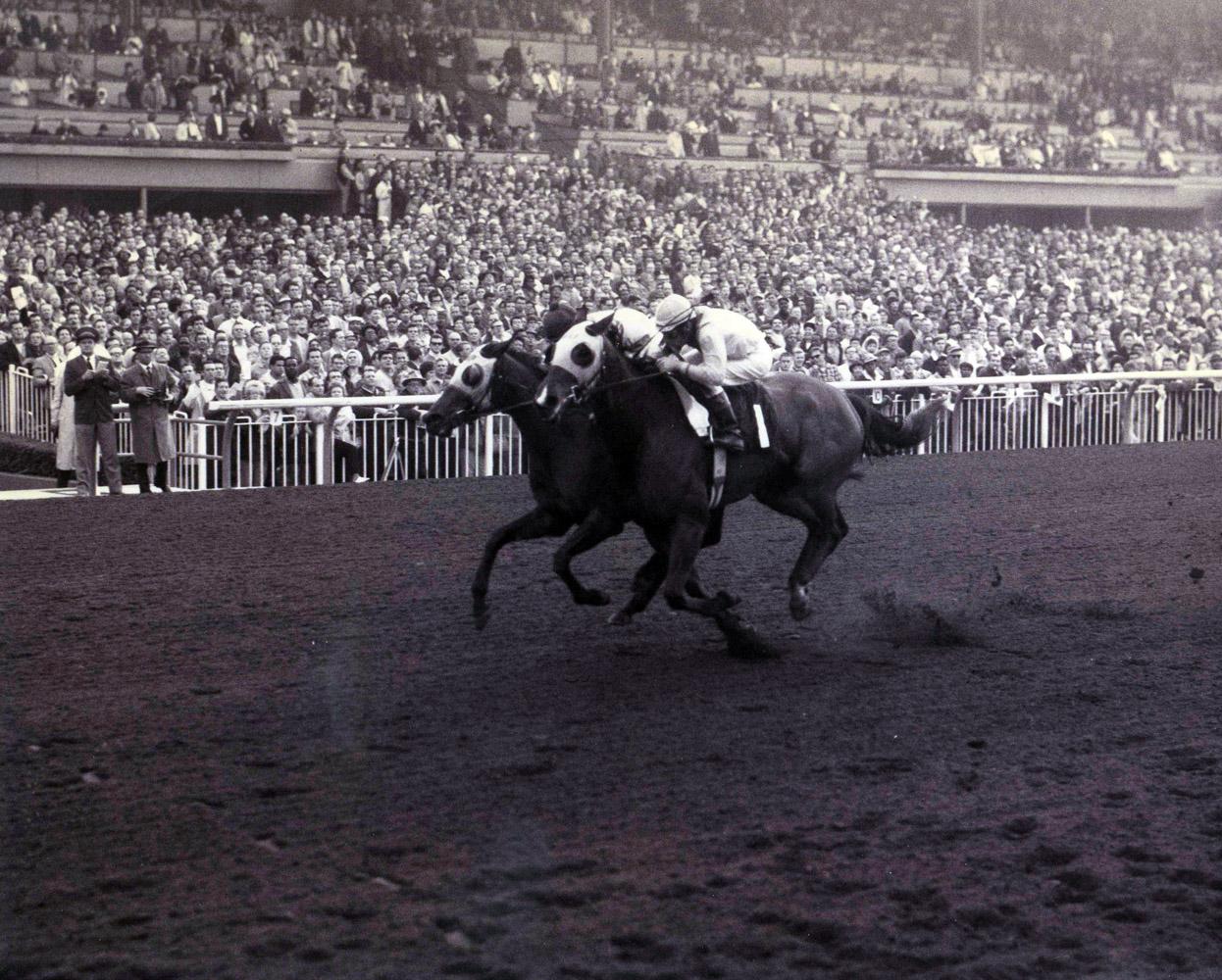Gamely (Manuel Ycaza up) winning the 1968 Santa Margarita Handicap at Santa Anita by a nose (Santa Anita Photo/Museum Collection)