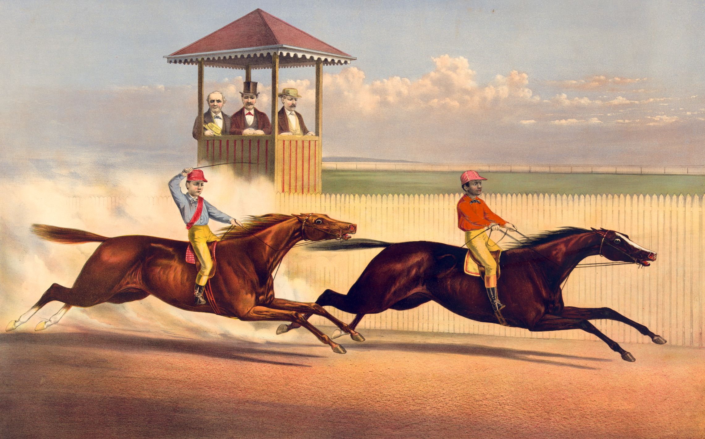 """Currier & Ives print Harry Bassett and Longfellow in """"their great races"""" at Long Branch and Saratoga (Library of Congress)"""