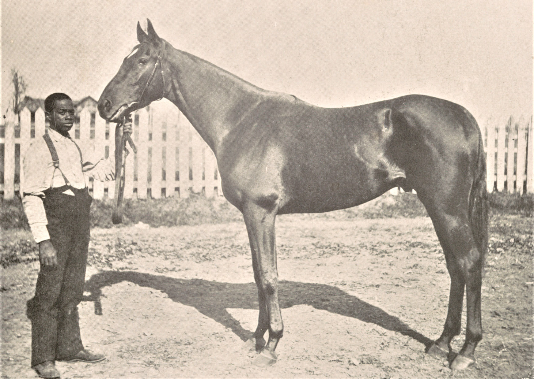 """Photograph of Henry of Navarre with unindentified handler from """"The American Turf"""" (Keeneland Library Collection)"""