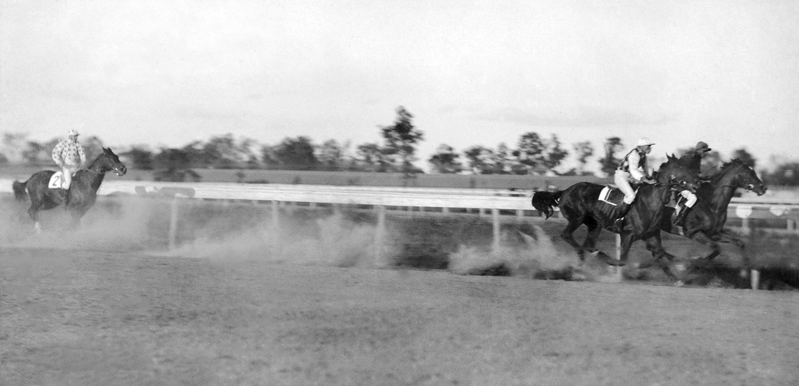 Henry of Navarre leading in his match race with Clifford (in 2nd) and Domino (in 3rd) at Morris Park on Oct. 6, 1894 (Keeneland Library Hemment Collection)