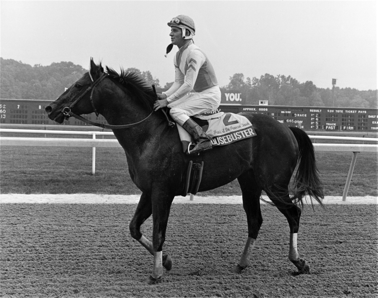 Housebuster (Craig Perret up) at the 1991 Frank J. DeFrancis Memorial Dash at Laurel Park (Keeneland Library Thoroughbred Times Collection)