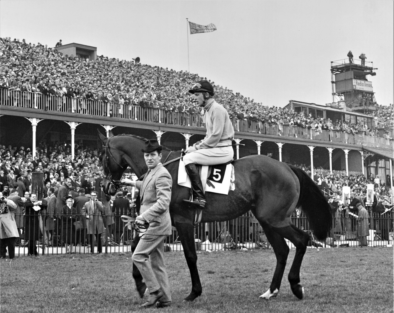 Jay Trump (Tommy Smith up) on his way to the post at the 1965 British Grand National (Winants Bros, Inc.)