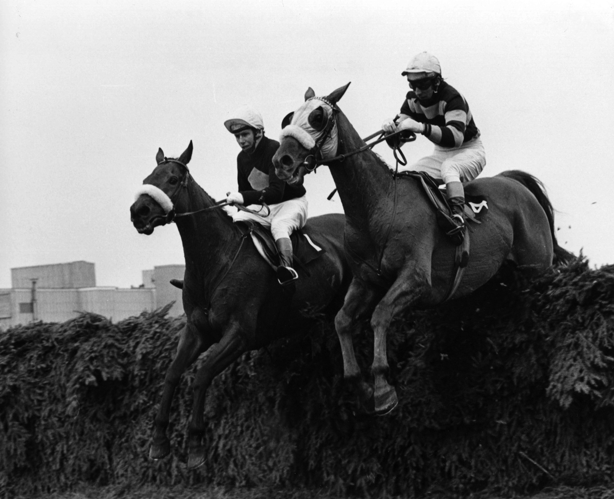 L'Escargot (on right) going over a jump in the 1975 British Grand National (Gerry Cranham/Museum Collection)